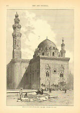 Egypt, Cairo, Mosque Of The Sultan Hassan, Vintage, 1880 Antique Art, Print.
