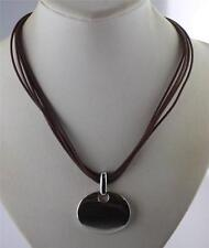 Fashion shiny silver tone oval modern pendant brown multi chord necklace 16-18""