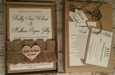 A6 Handmade  Rustic burlap Wedding Day Invitation Boxed Sample with rsvp / wish