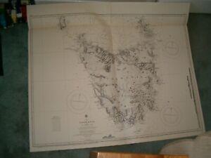 Vintage Admiralty Chart 1079 TASMANIA 1913 edn