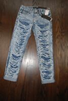 Rue 21 jeans destroyed look premium stretch skinny acid washed $40 price NWT