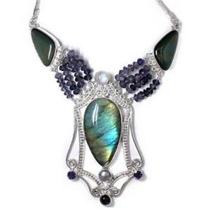 Offerings Sajen SS Labradorite Necklace with Rainbow Obsidian, Rainbow Moonstone