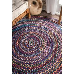 8x8 Feet Natural Braided Round Cotton Chindi Area Rug Floor Rug Free Shipping