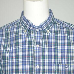 VINEYARD VINES Slim Fit Tucker Cotton Blue Green Plaid Casual Shirt Sz XL