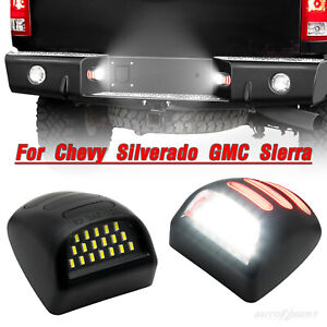 2X LED License Plate Light Red DRL Tube For Chevy Silverado GMC 1500 2500 3500