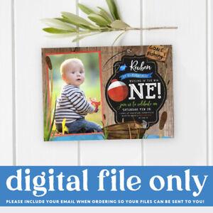 Printable Boy's Fishing Digital Invitation, The Big One Fish Themed 1st Birthday