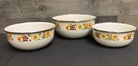 Set of 3 Vintage Retro Metal Enamel Nesting Bowls with 1970's Floral Design