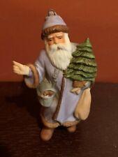 J.B & R Inc. Porcelain Santa Claus Ornament Holding a Christmas Tree H3609