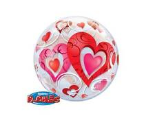 "22"" COLOURFUL RED HEARTS HELIUM STRETCHY PLASTIC BUBBLES BALLOON VALENTINE 33909"