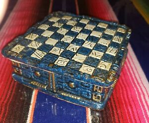 Mexican Carved Chess SET 32 Piece Aztec  Style Calendar Faux Azurite Malachite