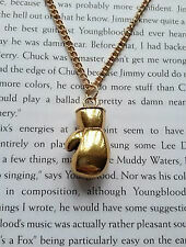 """GOLD BOXING GLOVE NECKLACE CHAIN PENDANT ROCKY FIGHTER SPORTS MENS 18"""" NEW"""