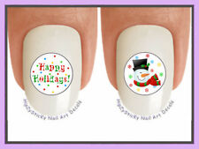 Nail Decals #805X CHRISTMAS Happy Holiday Snowman WaterSlide Nail Art Transfers