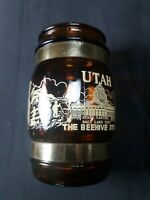 Utah Beehive State monuments Souvenir Brown Glass With Wooden Handle Mug