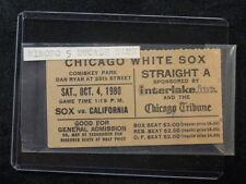 Vintage October 4, 1980 White Sox vs Angels Ticket Minnie Minoso 5 Decade Game
