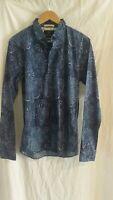 BNWT Scotch and Soda blue patterned long sleeve Shirt size medium RRP $129