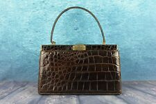 Vintage Russell & Bromley Crocodile Alligator Skin Leather Lined Handbag Bag