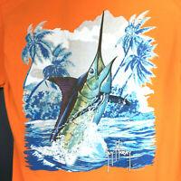 Guy Harvey Mens Medium (38in Chest) Orange Marlin Swordfish Pocket Cotton TShirt
