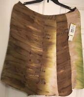 NWT JONES NEW YORK WOMAN SAGE SKIRT, 100% Silk Size 14
