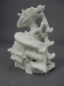 """Large Chinese Intricately Carved White Stone Dragon  Statue 7.5 """""""