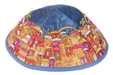Jewish Embroidered Jerusalem of Gold Kippah - Made in Israel - Raw silk