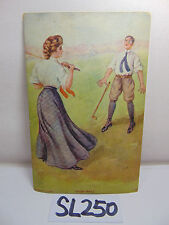 "VINTAGE 1907 POSTCARD POSTED STAMP GIBSON GIRL ""HIGH BALL"" GOLF WITH GUY RARE"