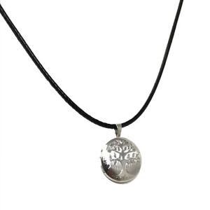 Sterling Silver Rhodium Plated Tree of Life Locket on Leatherette Cord Necklace