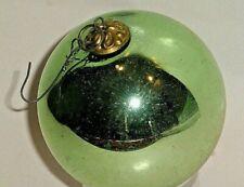 "Vintage Antique Green Glass 3"" Dia Kugel Christmas Ornament"
