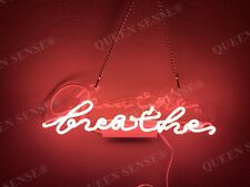 """New Breathe Pink Acrylic Neon Light Sign 14""""x4"""" Room Lamps Homemade Display"""
