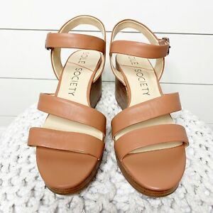 Sole Society 10M Charvi Wedge Sandals Clay Leather Ankle Strap Open Toe NEW