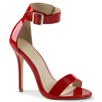 Pleaser AMUSE-10 Women's Sexy Red Patent High Heel Open Toe Ankle Strap Sandals