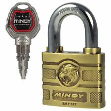 MENGS A16 60mm Brass Antique Security Padlock Long Shackle Lock With 4 Keys