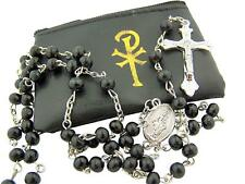 Miraculous Mary Medal Rosary Necklace with Gold Chi Rho Cross Zipper Case, 20 In