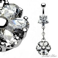 Belly Button Piercing Silver Stud Navel Piercing Pendant Flower White Crystal