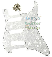 WD Stratocaster Strat Pickguard White Pearl 3 Ply 11 Hole + Screws  Made In USA!