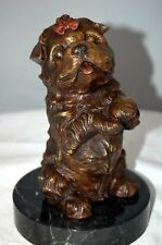 Bronze Terrier Dog Sculpture Marble Base Art