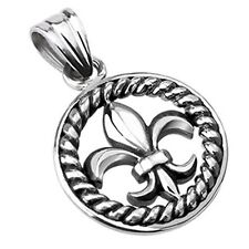 Stainless Steel Royal Fleur De Lis Within Rope Medallion Pendant P140