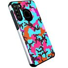 Hybrid Slim Case For Samsung Galaxy A21 Dual Layer Phone Cover-TEAL STYLISH CAMO