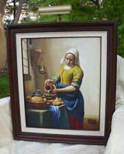 Vintage Original Painting THE MILKMAID KITCHEN MAID Vermeer-Reproduction Dutch