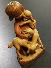 "New ListingWow! Anri Ferrandiz 3"" Good Shepherd Wooden Statue Woodcarving Girl with Sheep"
