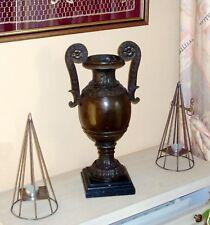 Genuine Jugendstil (Art Nouveau) Large Bronze Amphora with black marble base