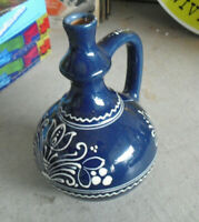 """Art Pottery Blue and White Glazed Large Pitcher or Vase 8 1/4"""" Tall"""
