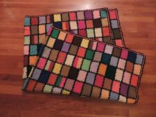 Colorful Handmade Crochet Afghan Knit Throw Granny Square Quilt Blanket 52 x 68