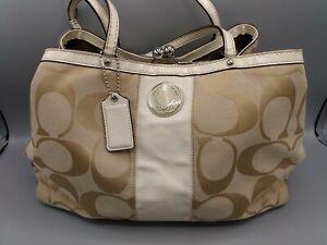 Coach Signature Stripe Satchel Logo Bag F19190- Authentic  W Bag Charm Kiss Lock