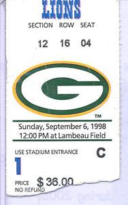 Green Bay Packers Detroit Lions 9/6/98 Ticket Stub...Brett Favre Antonio Freeman