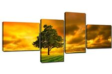 Quadro Moderno 4 Pezzi Cm 180x75 Arredamento Arte Paesaggi Natura Stampa su Tela