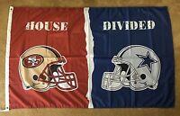 San Francisco 49ers vs Dallas Cowboys Flag 3x5 HOUSE DIVIDED NFL Banner