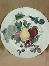 "Home Interiors Fruit Display Plaque Plate Round 15"" Key Hole Hanger Crackle Look"