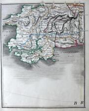 WALES PEMBROKE TENBY  NEWPORT FISHGUARD BY JOHN CARY GENUINE ANTIQUE MAP  c1822