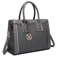 Fashion Designer PU Leather Handbag Tote Shoulder Large Women Bag Grey