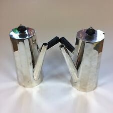More details for pair of antique silver plate daniel & arter chocolate pots 18.5cm in height